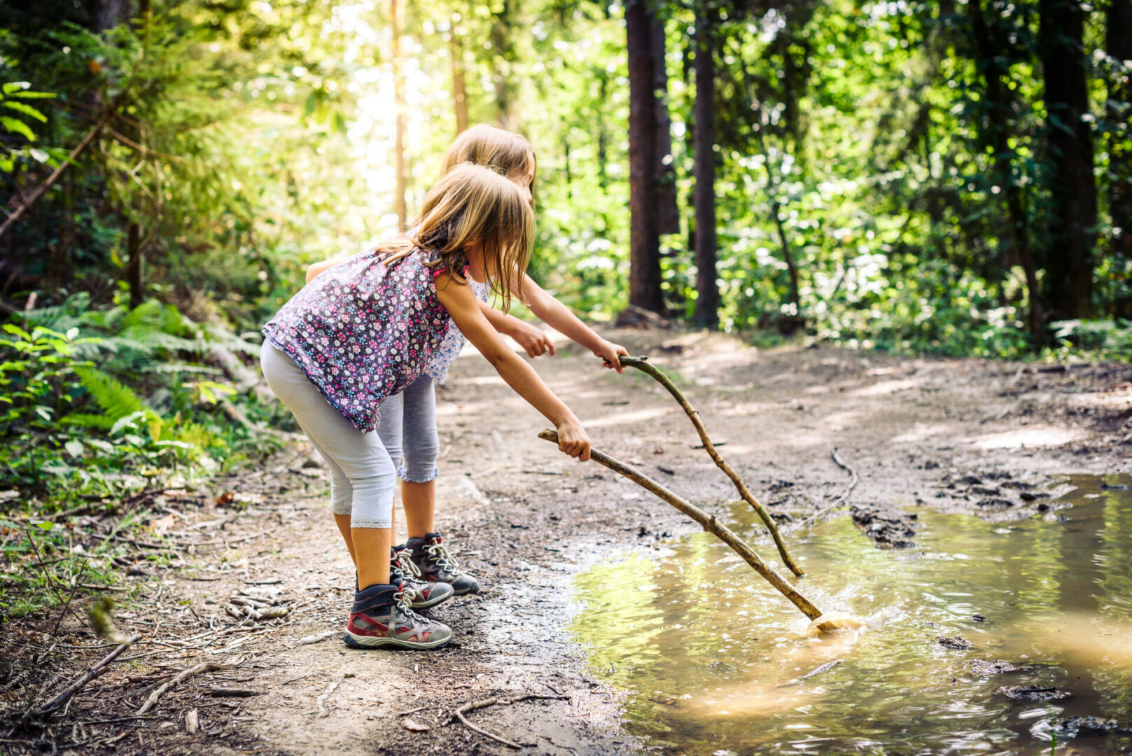 Children hiking in mountains or forest with sport hiking shoes. Girls are playing and learning in the nature with sticks and muddy puddle.